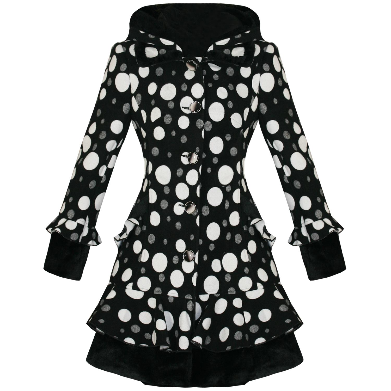 Damen jacke neu schwarz wei gepunktet punkte emo vintage stil gef ttert winter ebay - Schwarzer wintermantel damen ...