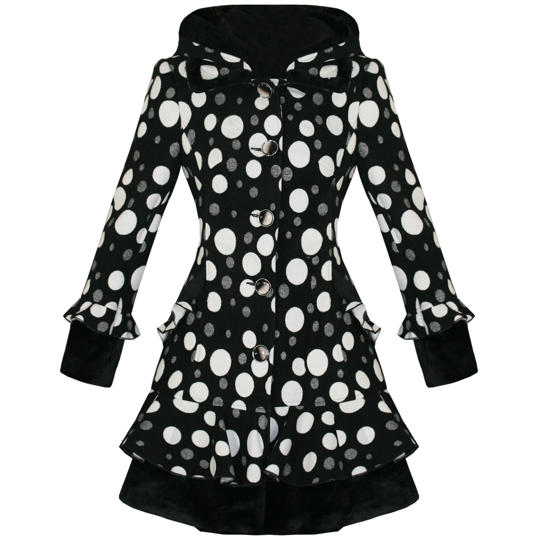 ... neu Schwarz Weiß Gepunktet Punkte Emo Vintage Stil Gefüttert Winter