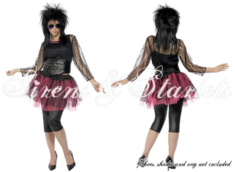 Ladies new 80 39 s rock rocker pop star icon sexy fancy dress for Rockabilly outfit damen