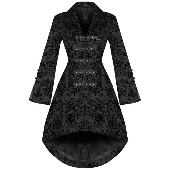Hearts and Roses London Black Tattoo Military Coat