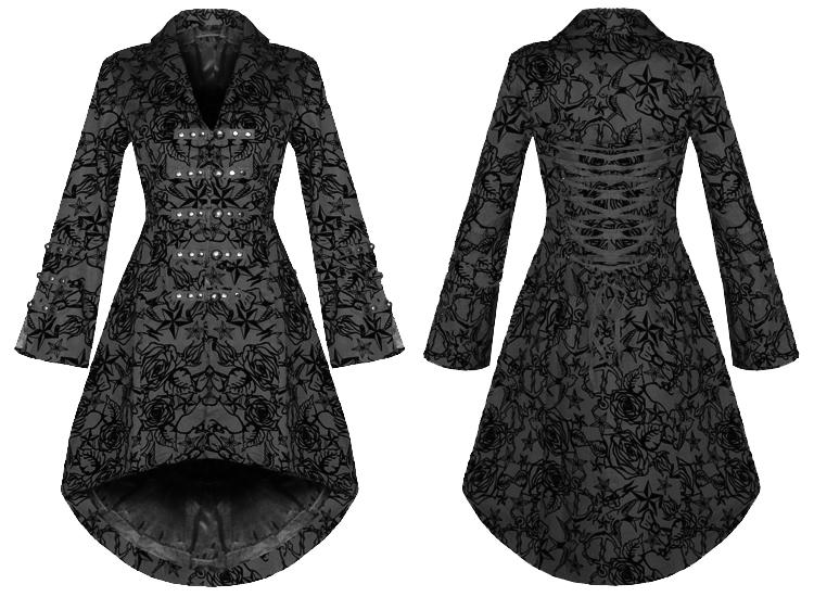 stock_hrlondon_304_black_1 womens new black gothic steampunk military rockabilly flocked,H R London Womens Clothing