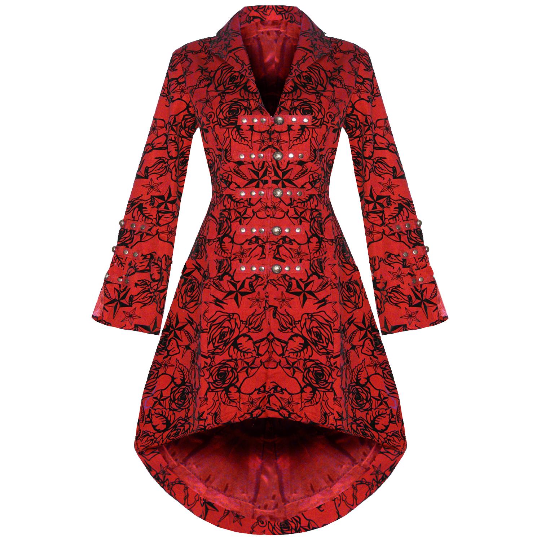 veste femme rouge gothique militaire steampunk floque tatoo neuf ebay. Black Bedroom Furniture Sets. Home Design Ideas