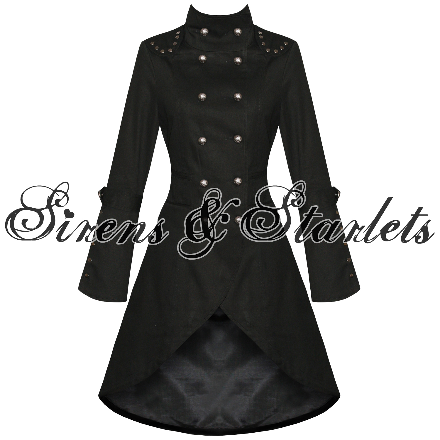 black womens coat long jacket gothic steampunk military cotton new ebay. Black Bedroom Furniture Sets. Home Design Ideas