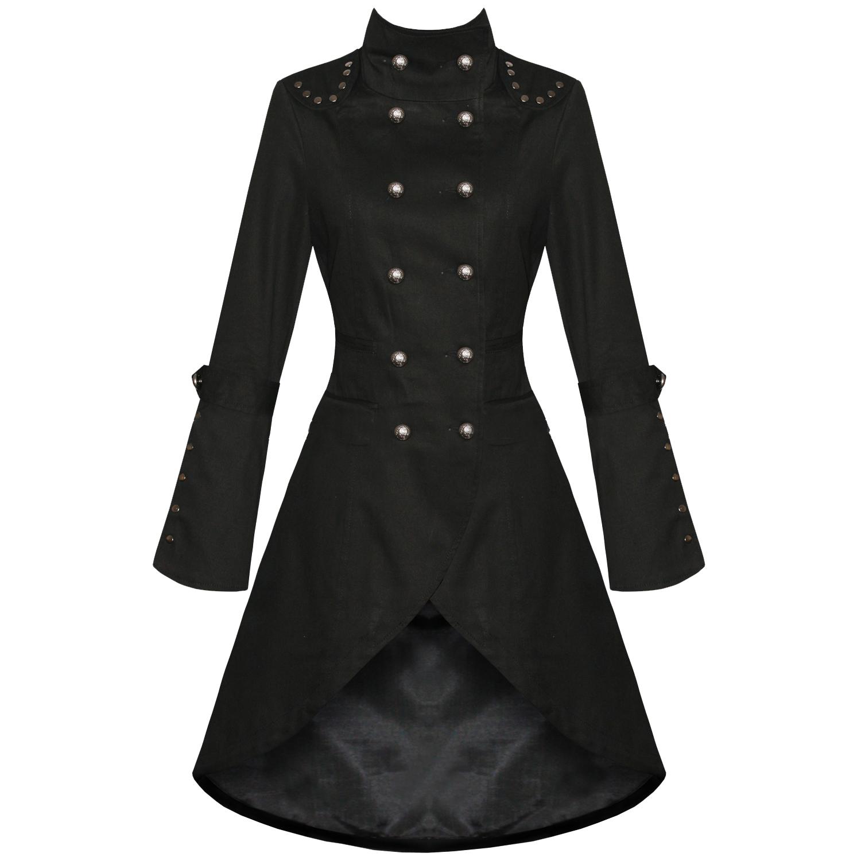 WOMENS LADIES NEW BLACK GOTHIC STEAMPUNK MILITARY COTTON COAT ...