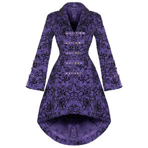 Hearts and Roses London Purple Tattoo Military Coat