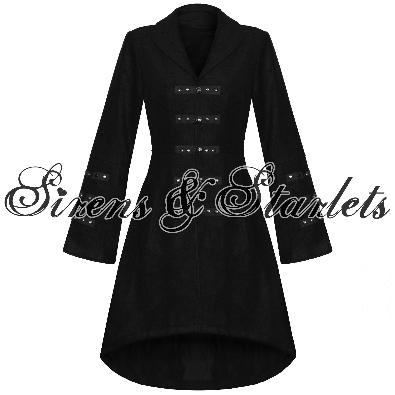 Ladies Long Black Jacket EiquOG