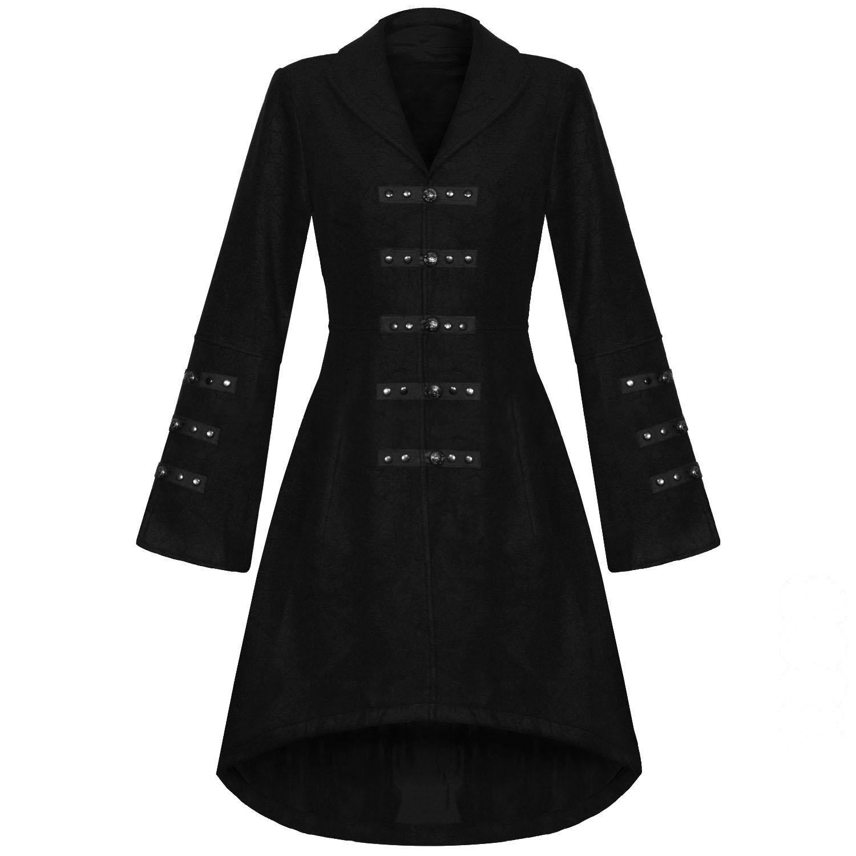 manteau femme long noir veste style militaire gothique steampunk effet laine. Black Bedroom Furniture Sets. Home Design Ideas
