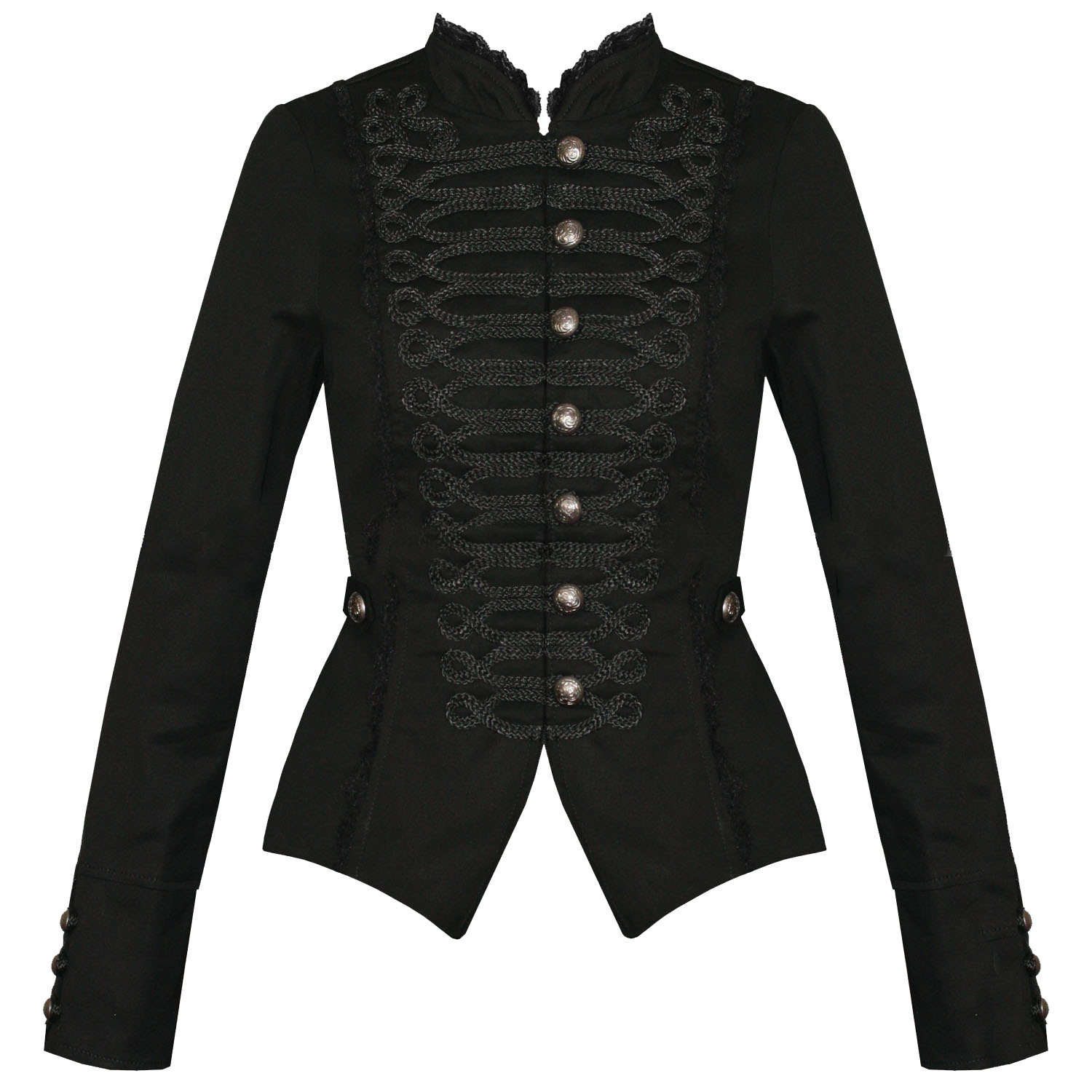 Womens Ladies New Black Gothic Steampunk Military Cotton Tailcoat Coat
