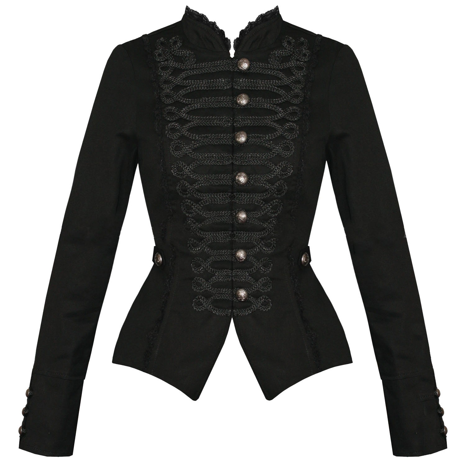 Womens Ladies New Black Gothic Steampunk Military Cotton Tailcoat ...