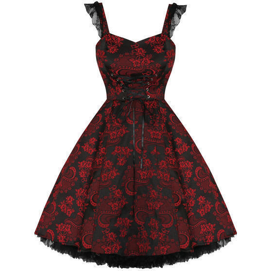 Hearts and Roses London Red Jacquard 1950s Dress