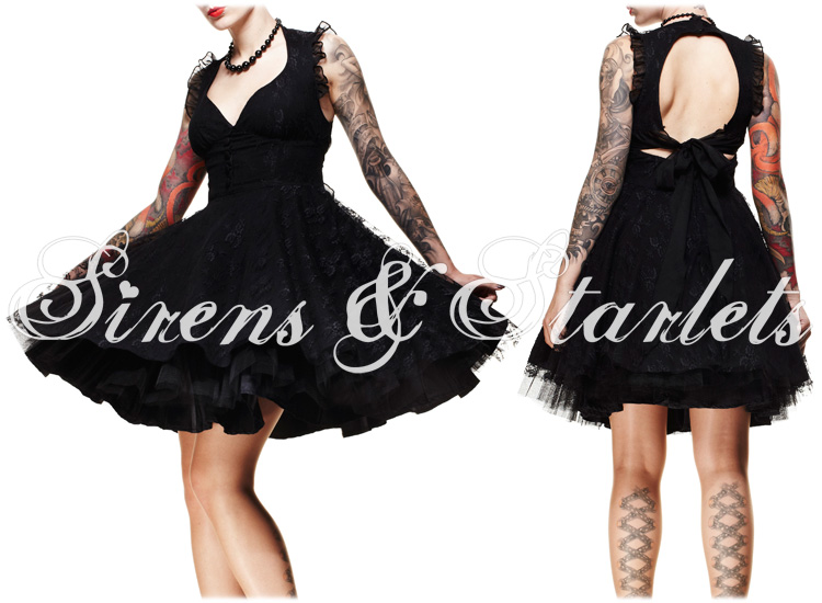 HELL BUNNY KITTY LADIES NEW BLACK LACE GOTHIC 50S VTG EVENING PROM PARTY DRESS