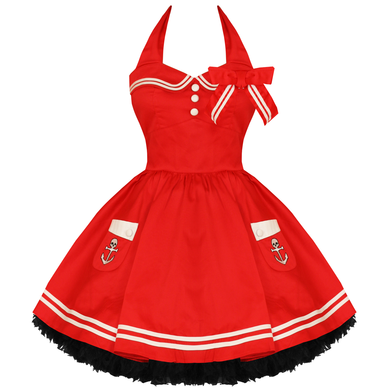 Kleid Hell Bunny Motley Damen Rot Matrosenkleid Rockabilly Stil Mini ...