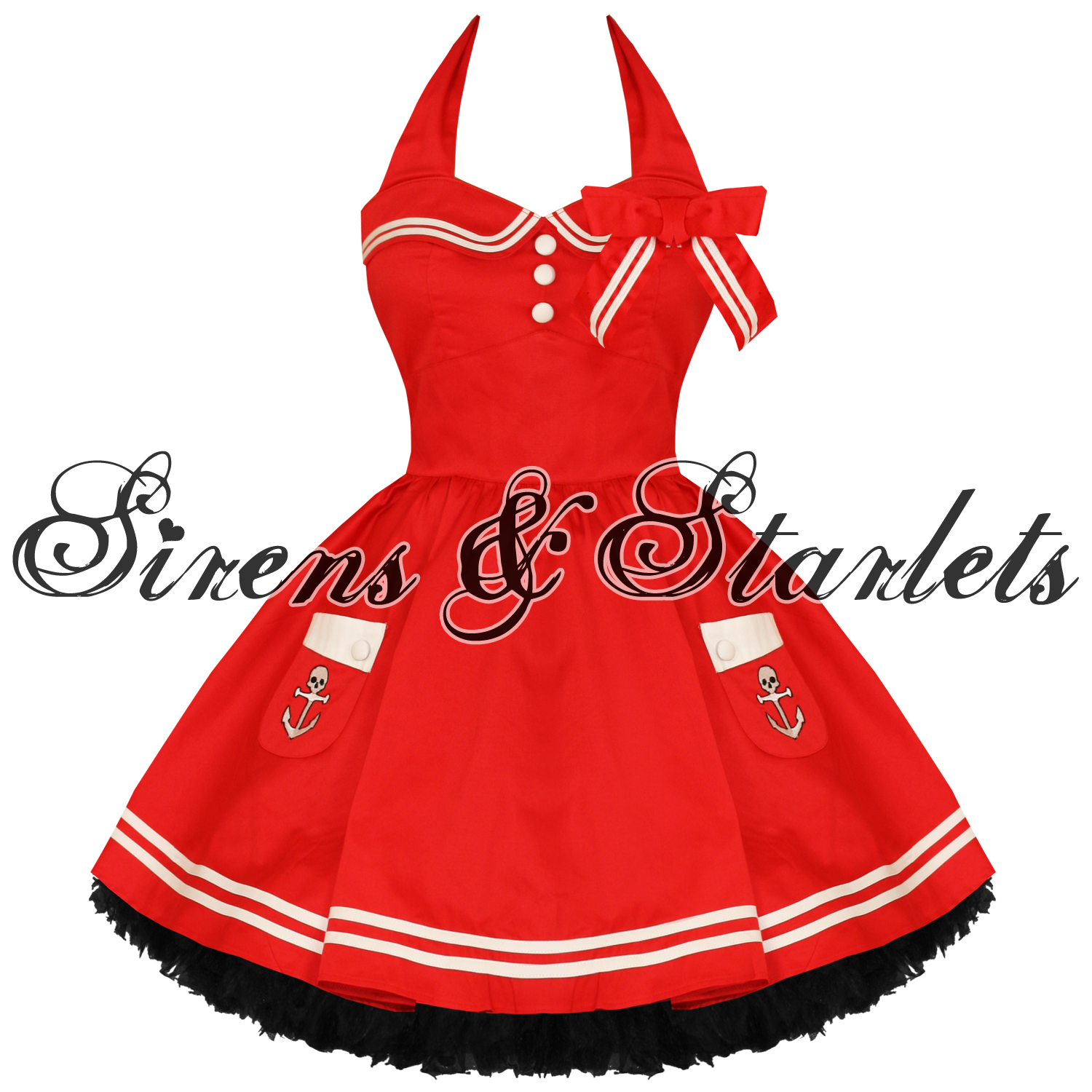 HELL-BUNNY-MOTLEY-LADIES-NEW-RED-SAILOR-ROCKABILLY-NAUTICAL-MINI-PARTY-DRESS