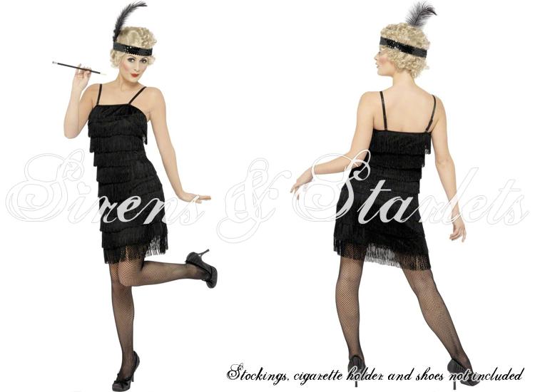 LADIES NEW SEXY BLACK 20S FLAPPER JAZZ VTG RETRO FANCY DRESS OUTFIT COSTUME