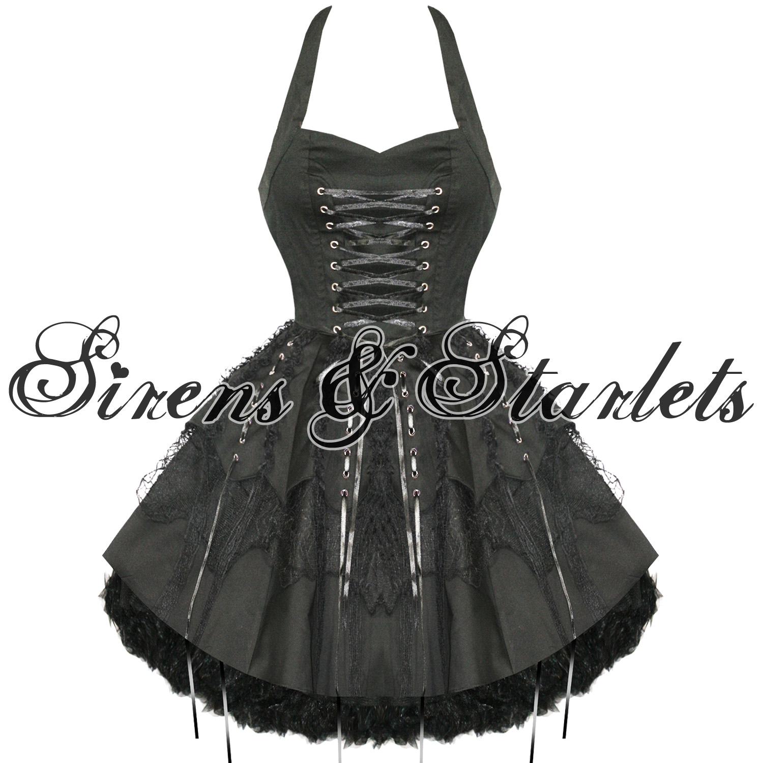 Kleid Damen Hearts & Roses Gothic EMO Steampunk Schwarz Party Frauen ...