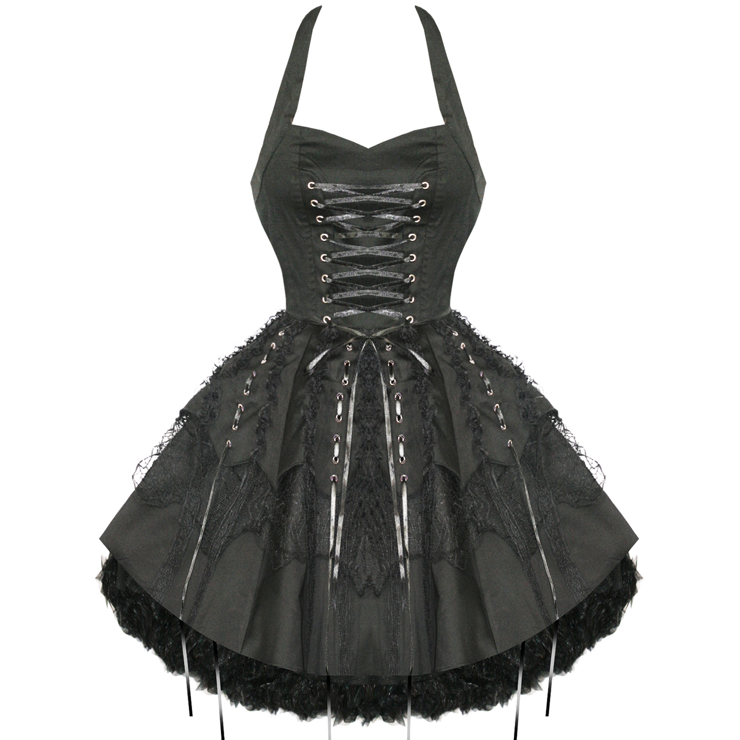 Hearts And Roses London Black Gothic Emo Vintage Flared Party Prom Dress | EBay