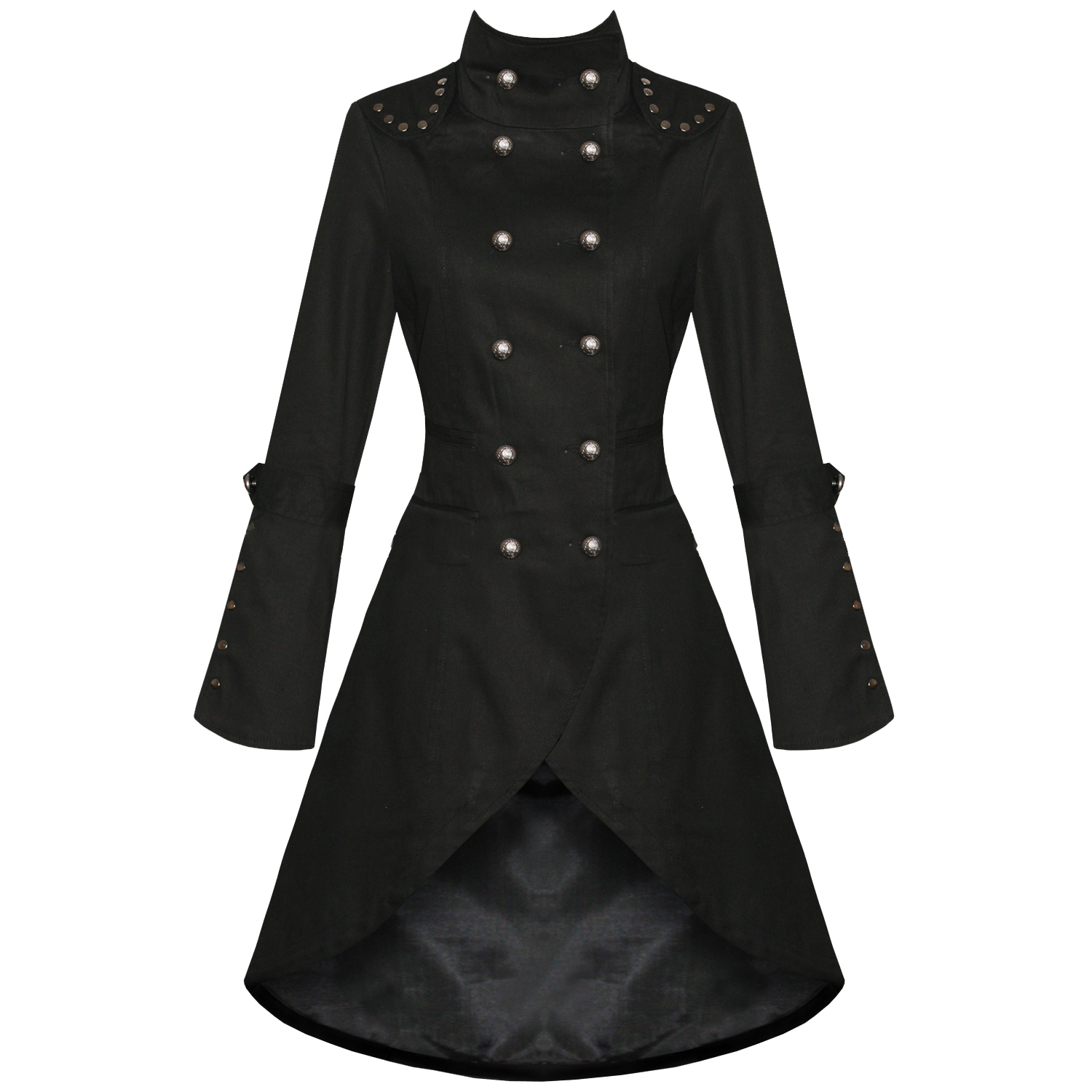 WOMENS-LADIES-NEW-BLACK-GOTHIC-STEAMPUNK-MILITARY-COTTON-COAT-JACKET