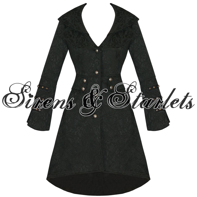 mantel damen goth milit r jacquard steampunk schwarz blumen brokade jacke ebay. Black Bedroom Furniture Sets. Home Design Ideas