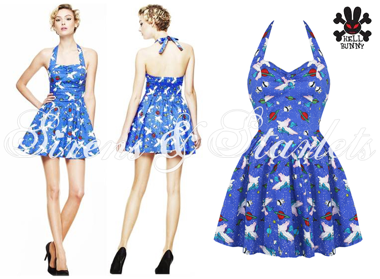 HELL BUNNY GEORGIA WOMENS LADIES BLUE PONY KITSCH SCENE PARTY CLUBBING DRESS