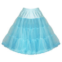 "Hell Bunny Turquoise Blue 25"" Long Full Net Tulle Vtg 50S Swing Petticoat Skirt"