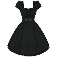 Womens Ladies Plain Black Retro Vintage 50S Vtg Style  Party Prom Evening Dress