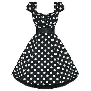 Ladies Womens New Black White Polka Dot 50S Rockabilly Swing Party Prom Dress