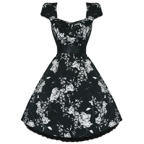 Hearts and Roses London White Floral 1950s Dress