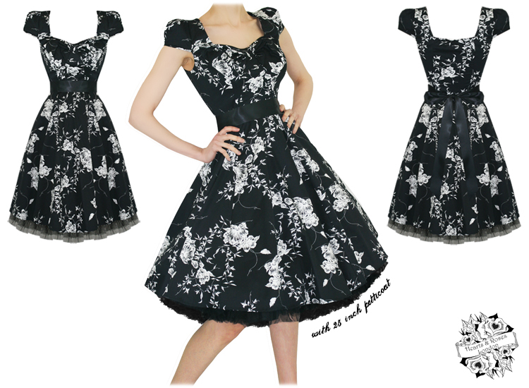 LADIES WOMENS NEW BLACK WHITE FLORAL 50S VTG ROCKABILLY SWING PARTY PROM DRESS