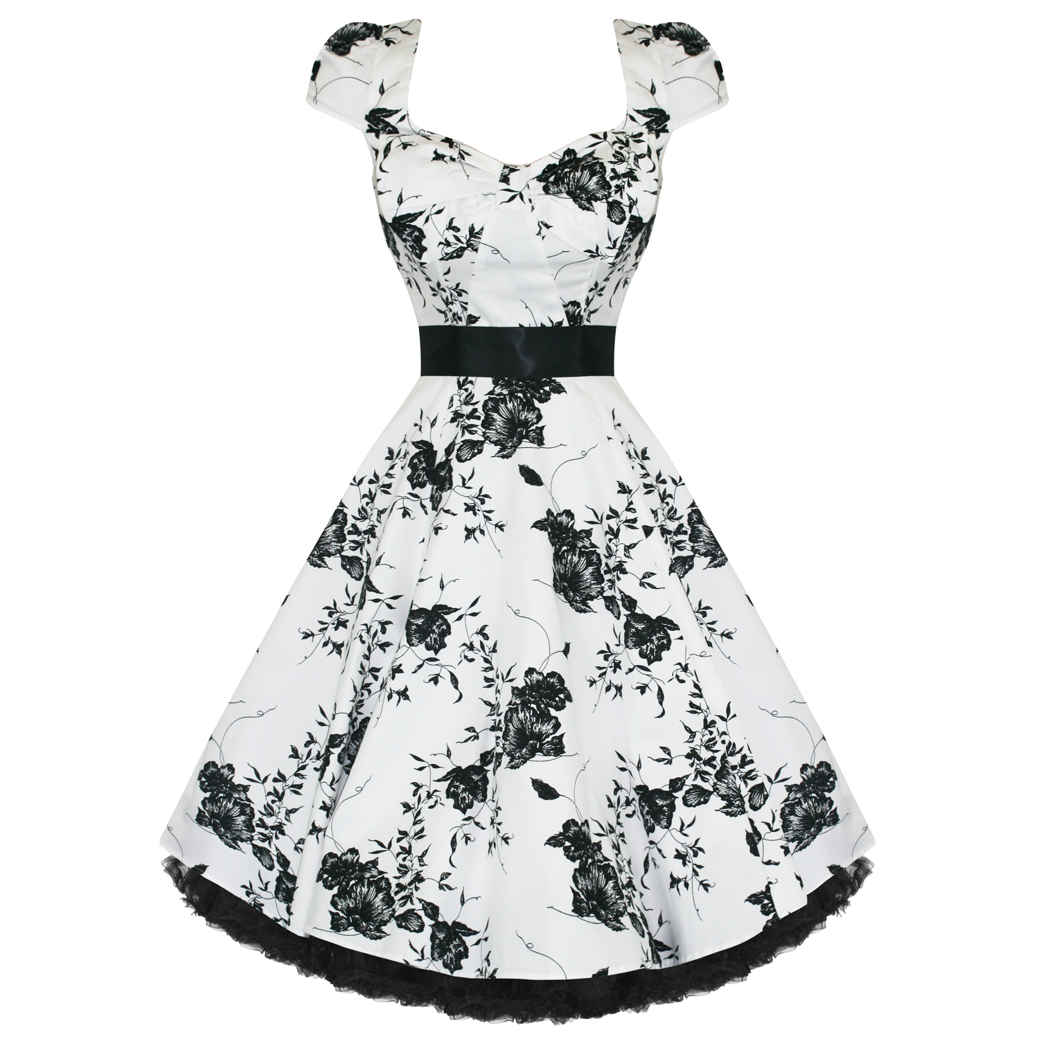 Vestito abito donna vintage bianco nero floreale anni 50 for Black and white only