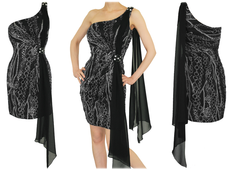 WOMENS LADIES NEW GREY CHIFFON DRAPE JEWEL PARTY COCKTAIL EVENING PROM DRESS