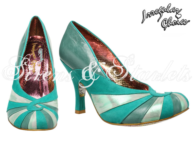IRREGULAR CHOICE BOLSHY GREEN LEATHER VINTAGE 50S 60S STYLE HIGH HEEL COURT SHOE