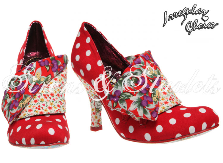 IRREGULAR CHOICE FLICK FLACK RED POLKA DOT KITSCH VINTAGE STYLE SEXY COURT SHOES