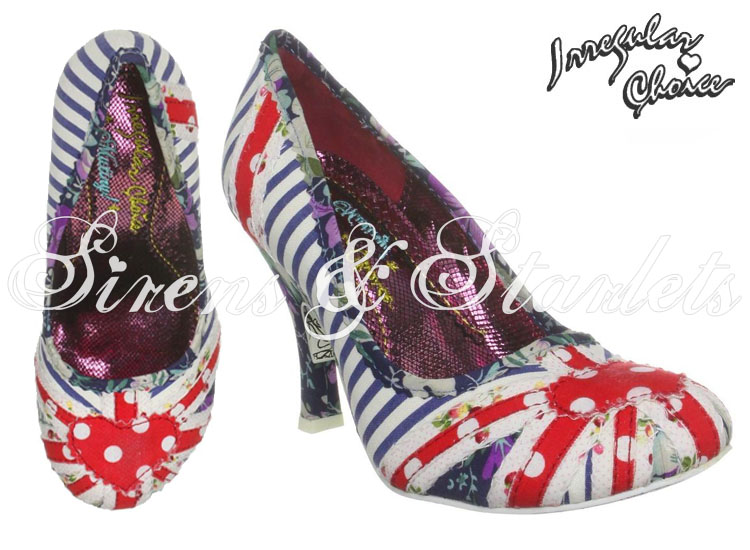 IRREGULAR CHOICE PATTY BLUE STRIPE UNION JACK FLORAL BRITISH FLAG VTG COURT SHOE