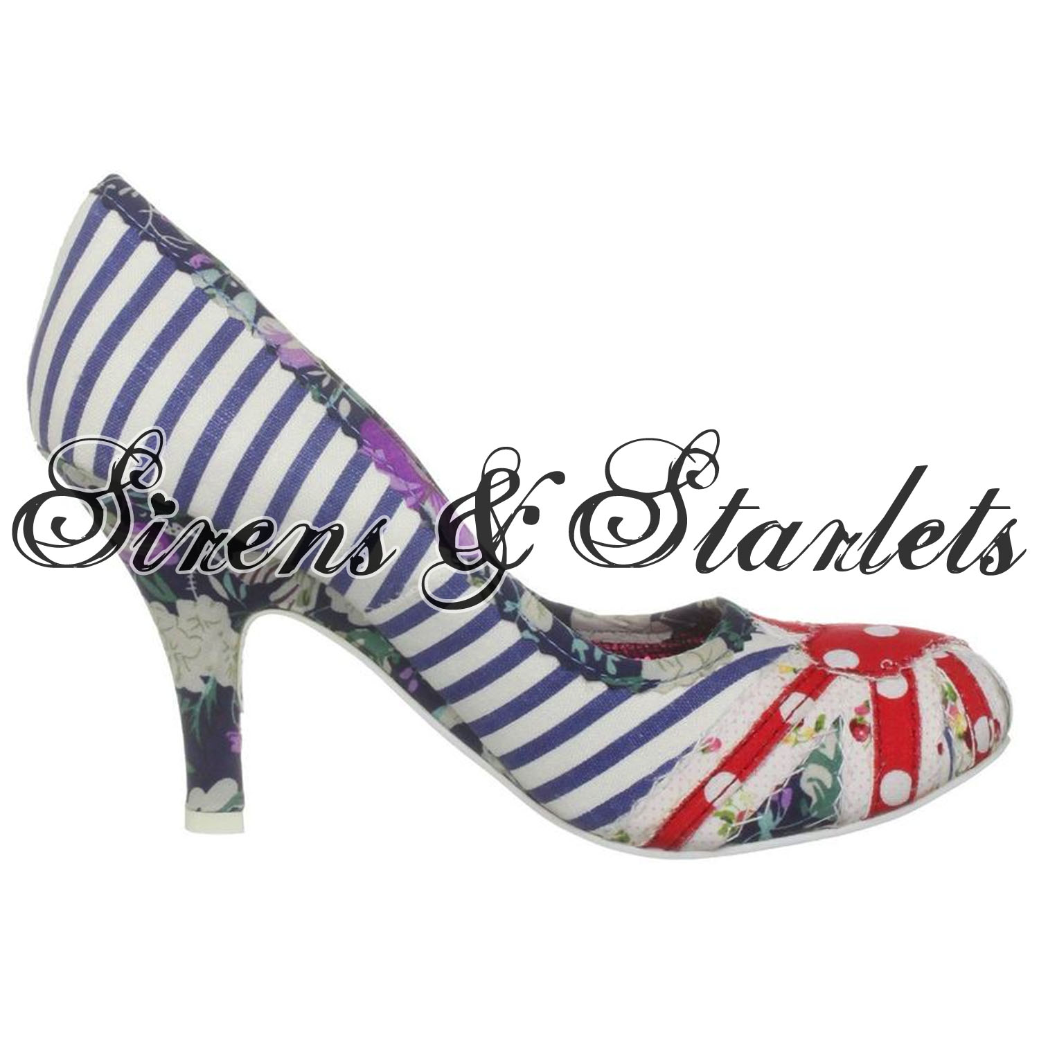 IRREGULAR-CHOICE-PATTY-BLUE-STRIPE-UNION-JACK-FLORAL-BRITISH-FLAG-VTG-COURT-SHOE