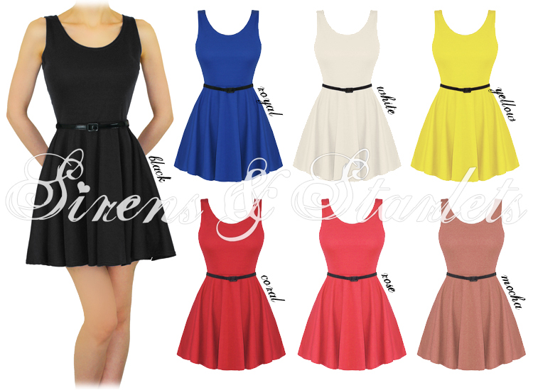 LADIES NEW VINTAGE 60S 80S BELTED FLARED SLEEVELESS SKATER PARTY DRESS DRESSES