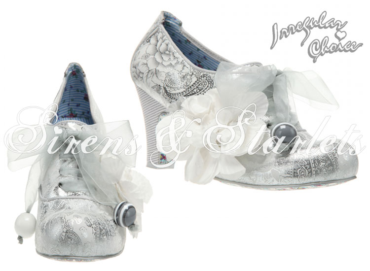 IRREGULAR CHOICE MILK MINT SILVER VINTAGE FLORAL HEELED WEDDING BRIDESMAIDS SHOE