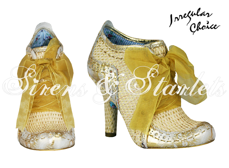 IRREGULAR CHOICE ABIGAILS 3RD PARTY GOLD WOVEN LEATHER VINTAGE HEELS BOOTS SHOES