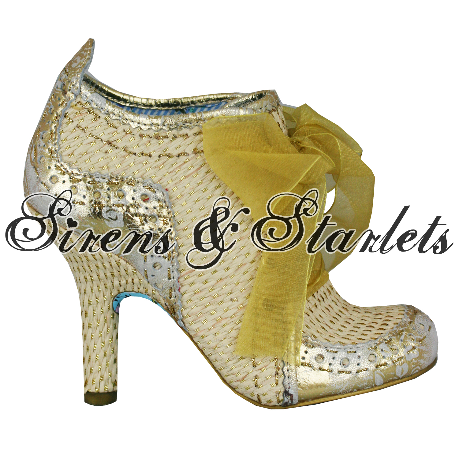 IRREGULAR-CHOICE-ABIGAILS-3RD-PARTY-GOLD-WOVEN-LEATHER-VINTAGE-HEELS-BOOTS-SHOES