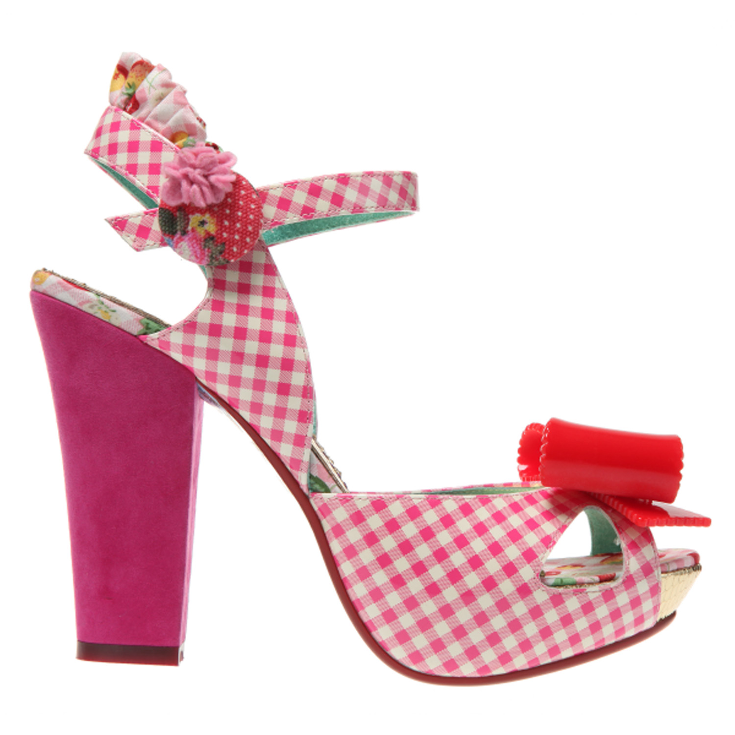 IRREGULAR-CHOICE-LOVE-BUG-PINK-GINGHAM-ROCKABILLY-KITSCH-VINTAGE-HEELS-SANDALS