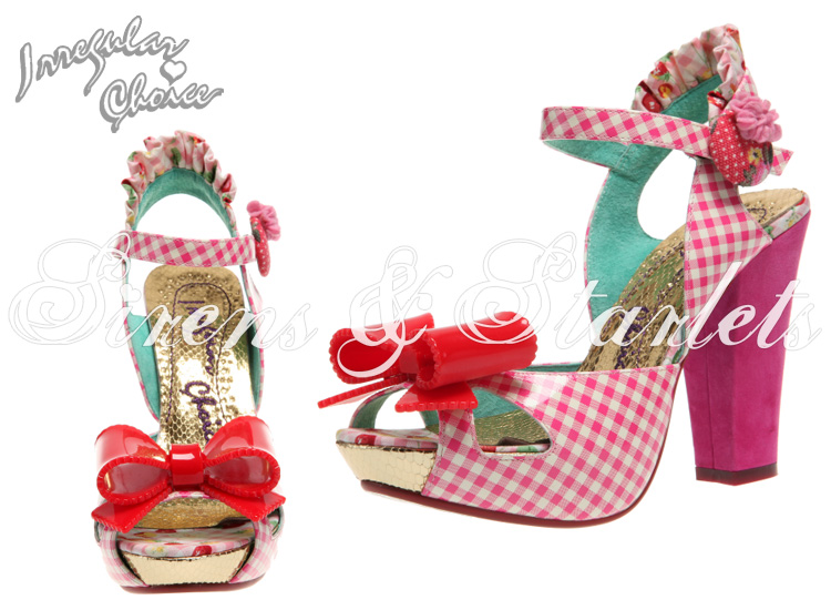 IRREGULAR CHOICE LOVE BUG PINK GINGHAM ROCKABILLY KITSCH VINTAGE HEELS SANDALS
