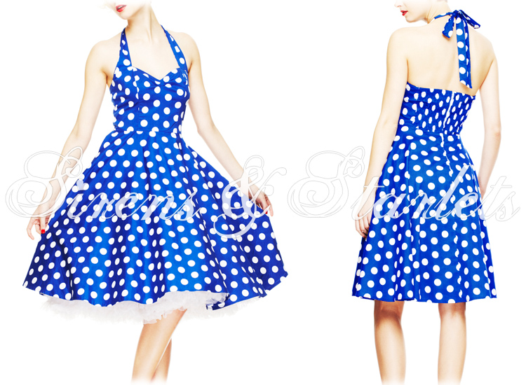 HELL BUNNY MERIAM BLUE POLKA DOT RETRO 50S ROCKABILLY PIN UP SWING PROM DRESS