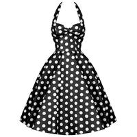 Hell Bunny Meriam Black Polka Dot Vtg 50S Rockabilly Pin Up Swing Prom Dress
