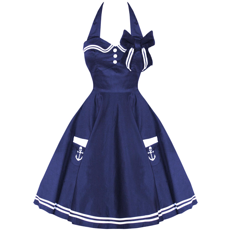 91e228a0069a78 Das Bild wird geladen Kleid-Damen-Hell-Bunny-Motley-Marineblau-Neu-50er-