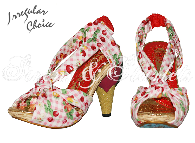 IRREGULAR CHOICE NEW PINK CHERRY GINGHAM ROCKABILLY KITSCH VINTAGE HEELS SANDALS