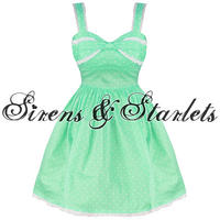 Hell Bunny Orlando Womens Ladies Mint Green Polka Dot 50S Vtg Prom Party Dress