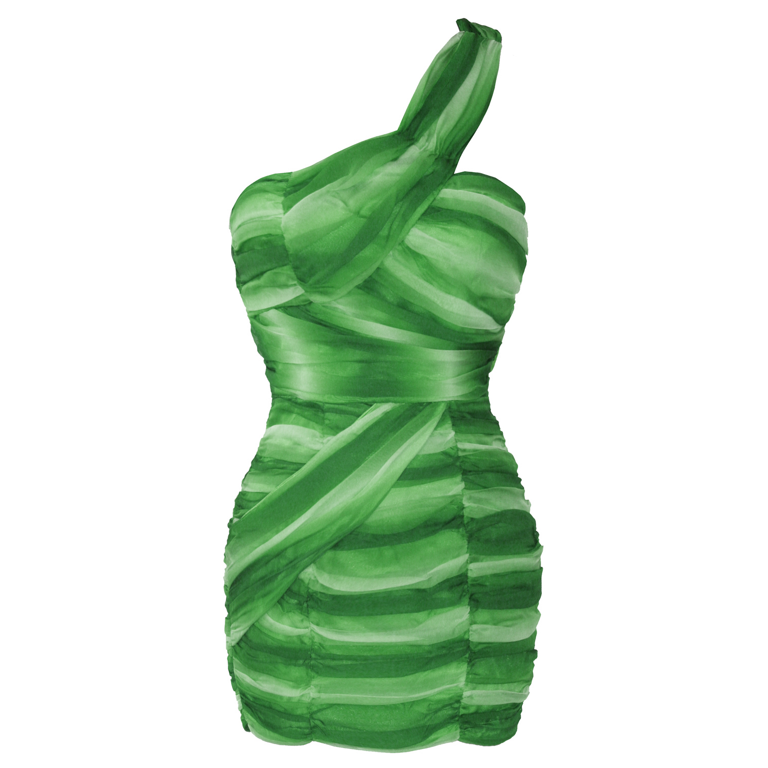 Ladies-New-Green-Chiffon-One-Shoulder-Mini-Party-Cocktail-Evening-Dress