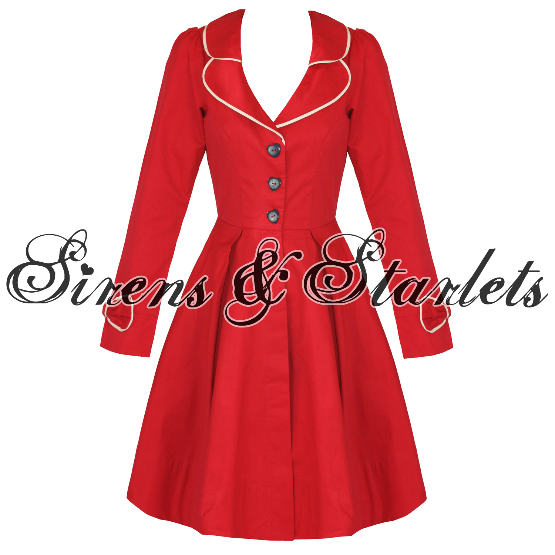 FRIDAY ON MY MIND WOMENS RED CAITLYN 50S STYLE VTG DESIGNER SUMMER ...