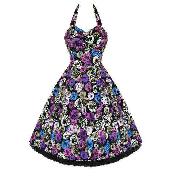 Hearts and Roses London Purple Floral 1950s Dress