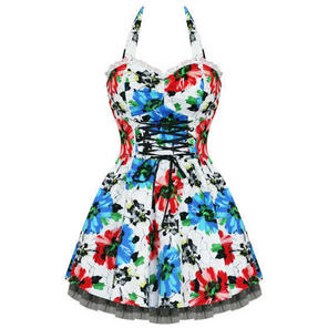 Hearts and Roses London Red Blue Floral 1950s Mini Dress