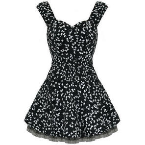 Hearts and Roses London Black Butterfly 1950s Mini Dress